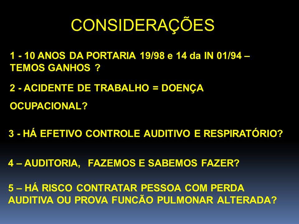 CONSIDERAÇÕES 1 - 10 ANOS DA PORTARIA 19/98 e 14 da IN 01/94 – TEMOS GANHOS 2 - ACIDENTE DE TRABALHO = DOENÇA.