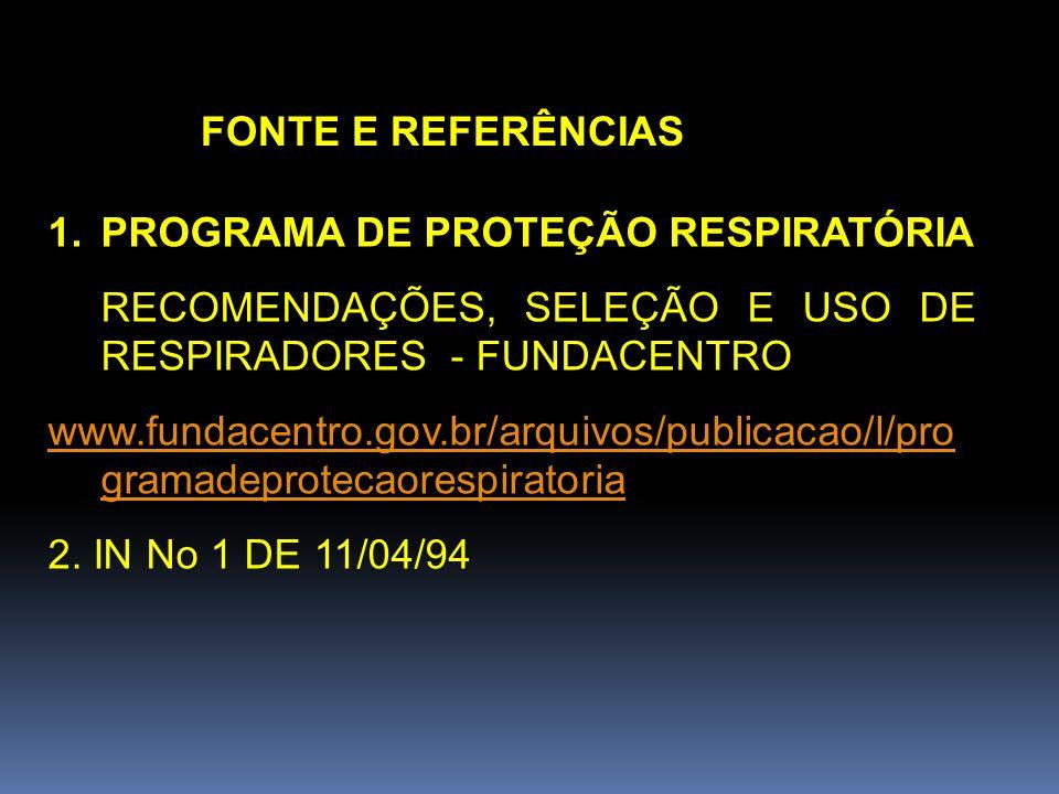 FONTE E REFERÊNCIAS PROGRAMA DE PROTEÇÃO RESPIRATÓRIA. RECOMENDAÇÕES, SELEÇÃO E USO DE RESPIRADORES - FUNDACENTRO.