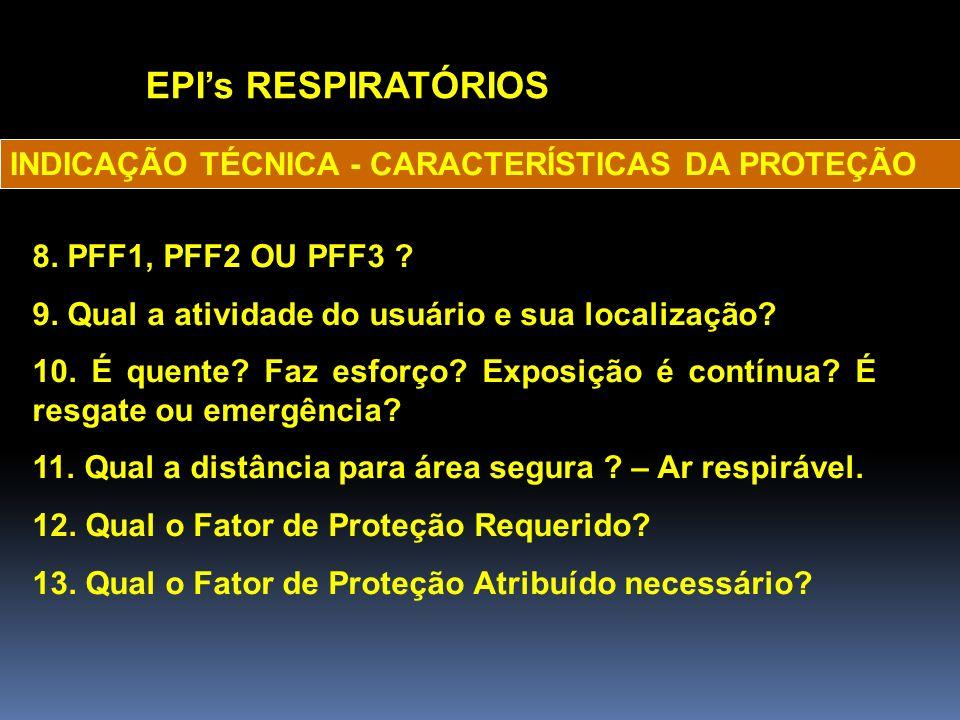 EPI's RESPIRATÓRIOS INDICAÇÃO TÉCNICA - CARACTERÍSTICAS DA PROTEÇÃO