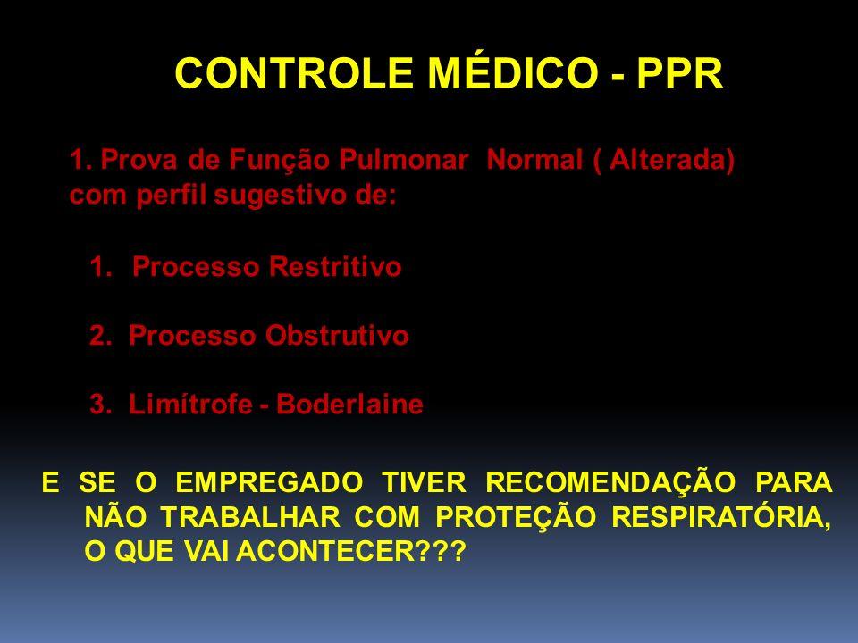 CONTROLE MÉDICO - PPR 1. Prova de Função Pulmonar Normal ( Alterada) com perfil sugestivo de: Processo Restritivo.