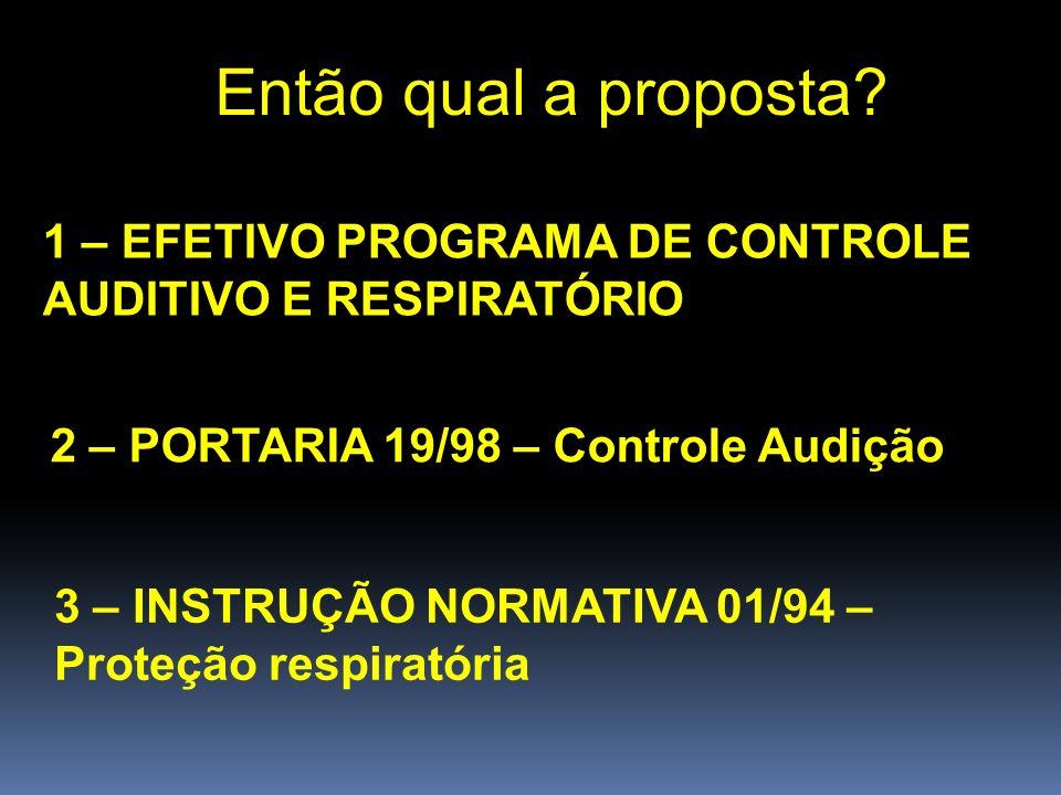 Então qual a proposta 1 – EFETIVO PROGRAMA DE CONTROLE AUDITIVO E RESPIRATÓRIO. 2 – PORTARIA 19/98 – Controle Audição.