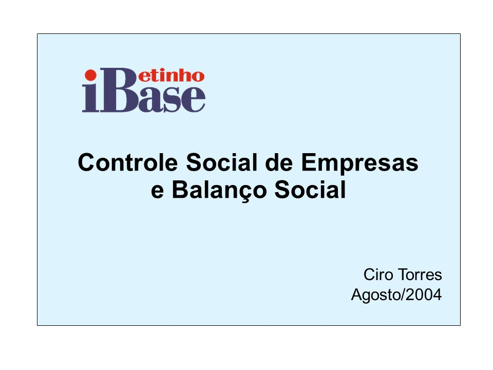 Controle Social de Empresas e Balanço Social