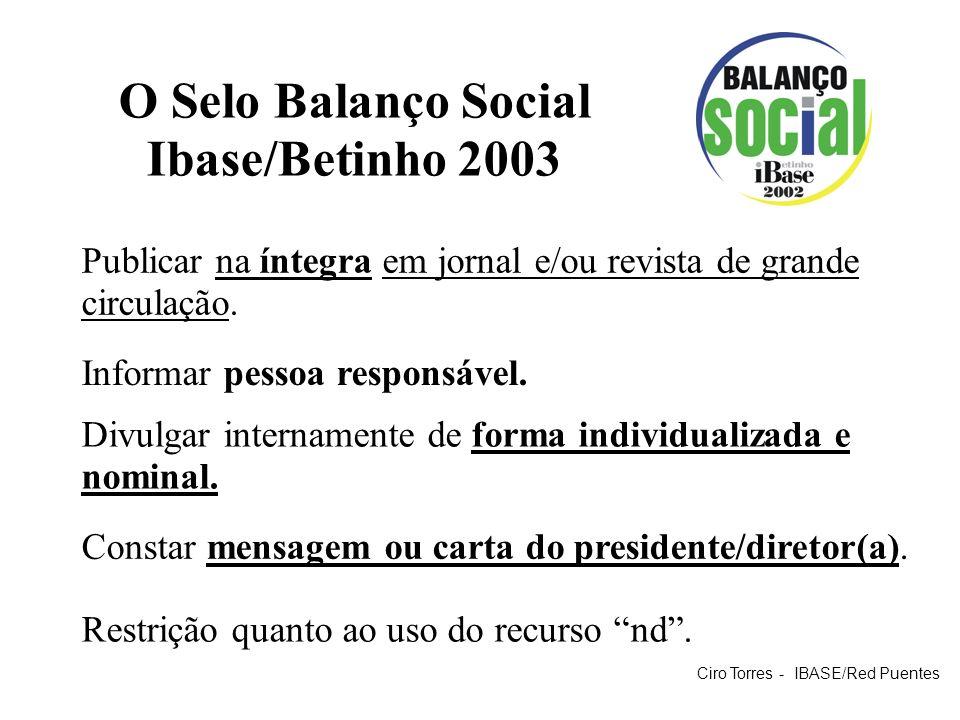 O Selo Balanço Social Ibase/Betinho 2003