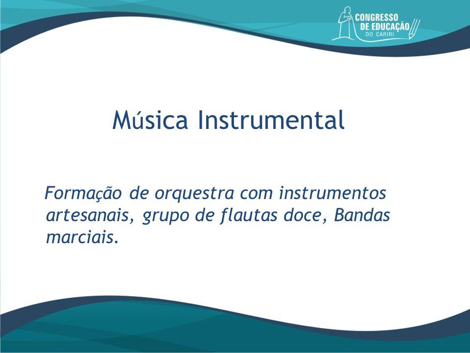 Música Instrumental Formação de orquestra com instrumentos artesanais, grupo de flautas doce, Bandas marciais.