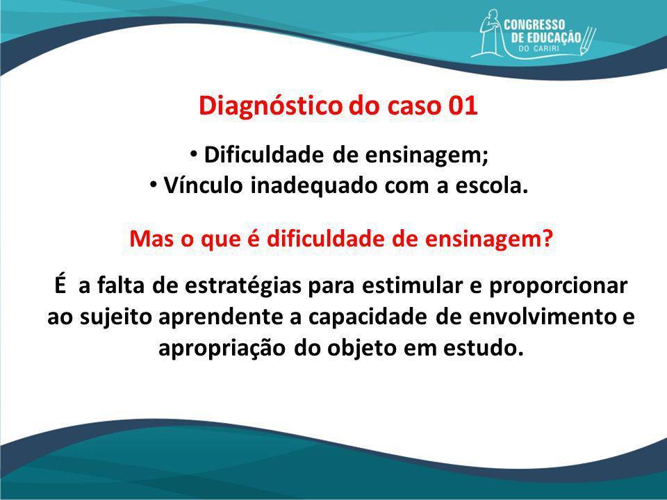 Diagnóstico do caso 01 Dificuldade de ensinagem;