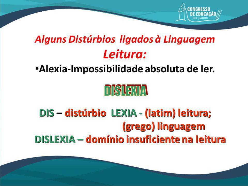 Leitura: DISLEXIA Alguns Distúrbios ligados à Linguagem