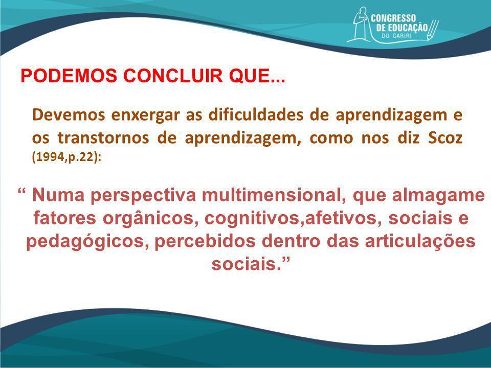 PODEMOS CONCLUIR QUE... Devemos enxergar as dificuldades de aprendizagem e os transtornos de aprendizagem, como nos diz Scoz (1994,p.22):