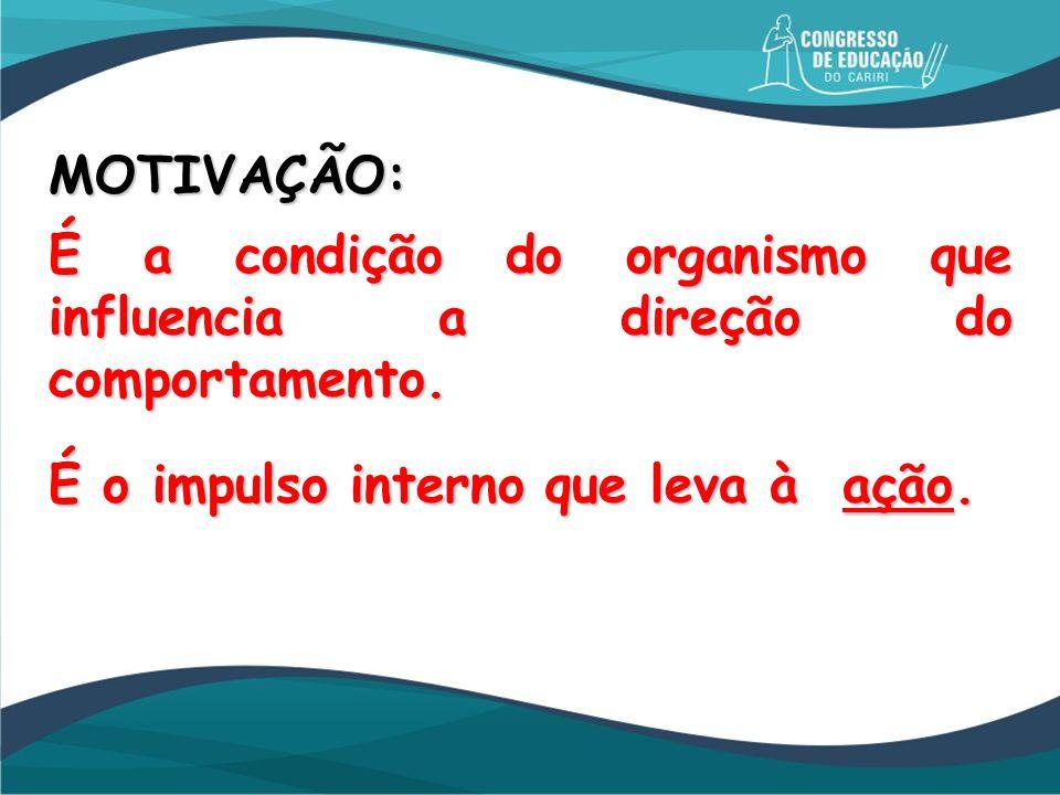 MOTIVAÇÃO: É a condição do organismo que influencia a direção do comportamento.