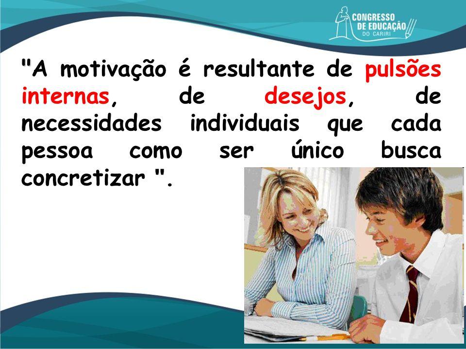 A motivação é resultante de pulsões internas, de desejos, de necessidades individuais que cada pessoa como ser único busca concretizar .