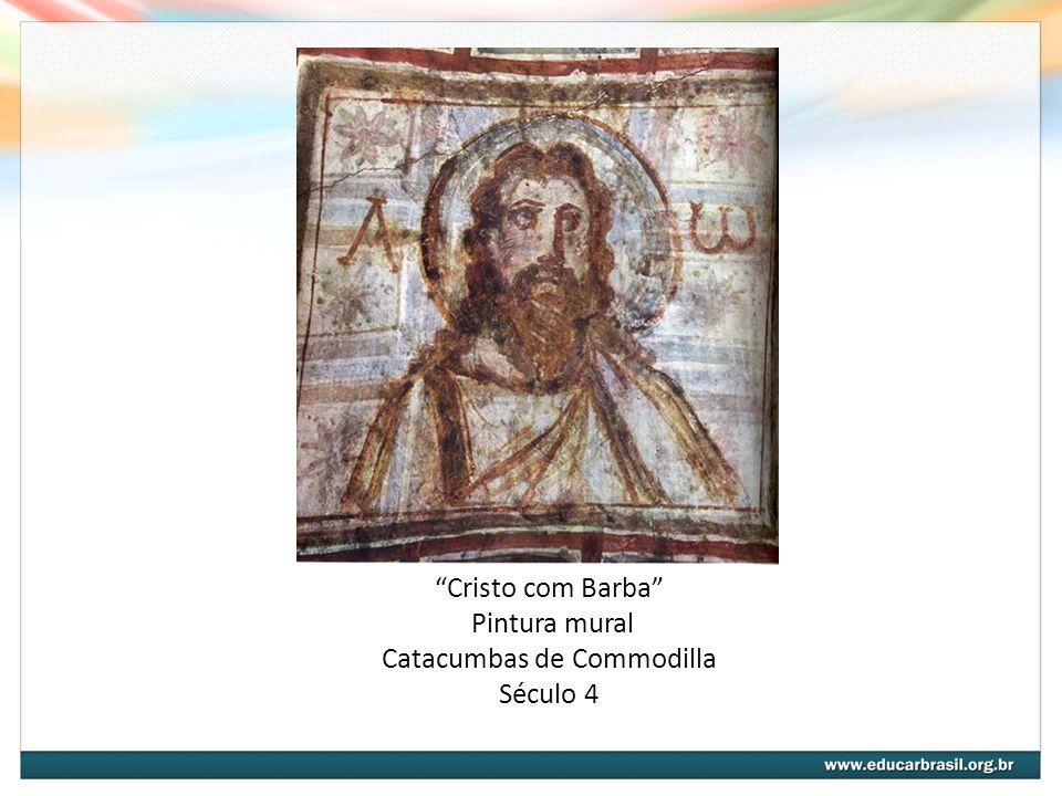 Cristo com Barba Pintura mural Catacumbas de Commodilla Século 4