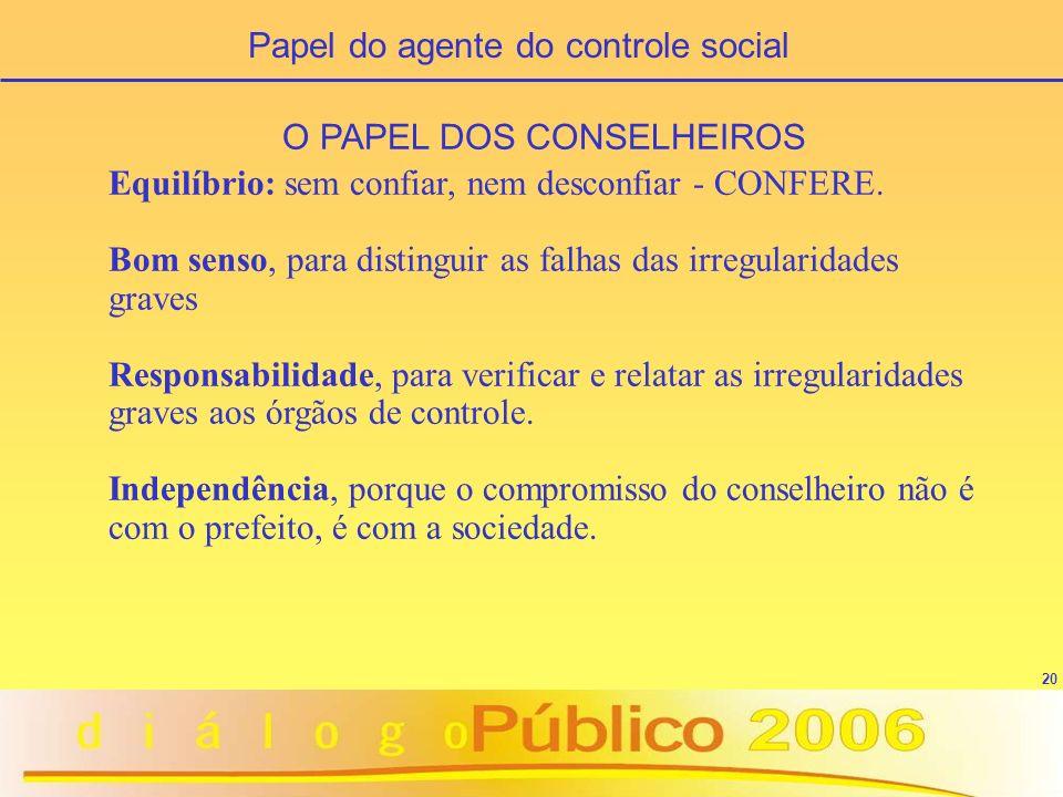 Papel do agente do controle social