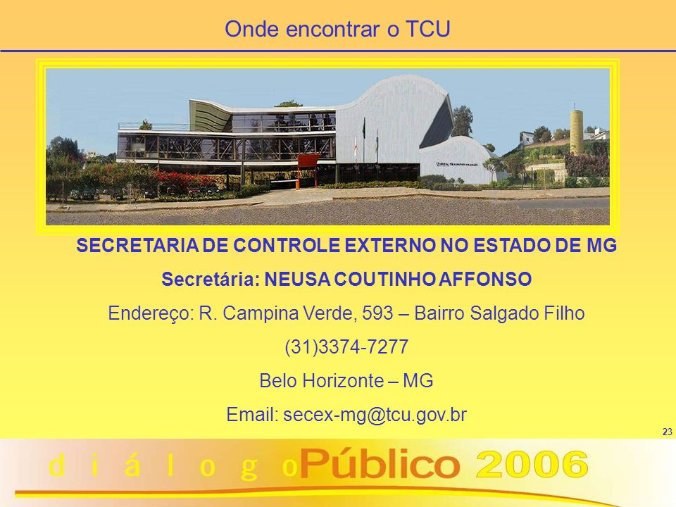 Onde encontrar o TCU SECRETARIA DE CONTROLE EXTERNO NO ESTADO DE MG
