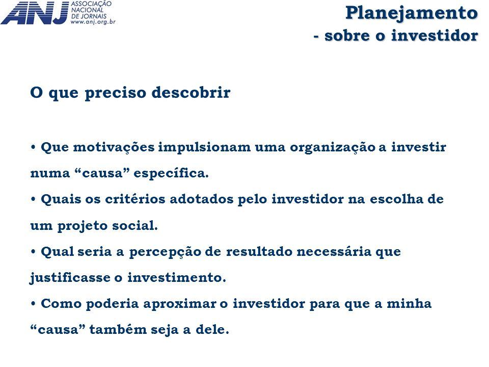 Planejamento - sobre o investidor O que preciso descobrir