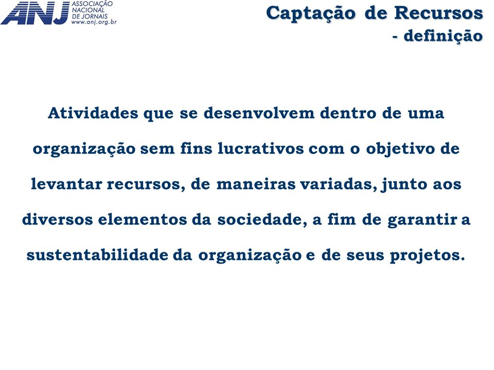 Captação de Recursos - definição