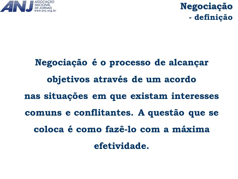 Negociação - definição.
