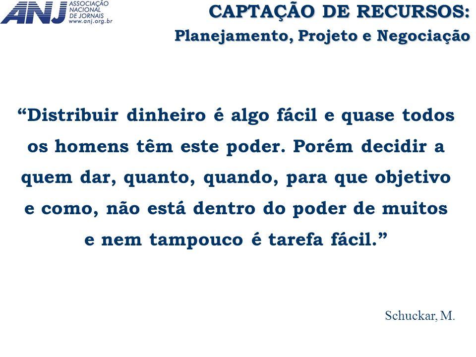 CAPTAÇÃO DE RECURSOS: Planejamento, Projeto e Negociação.