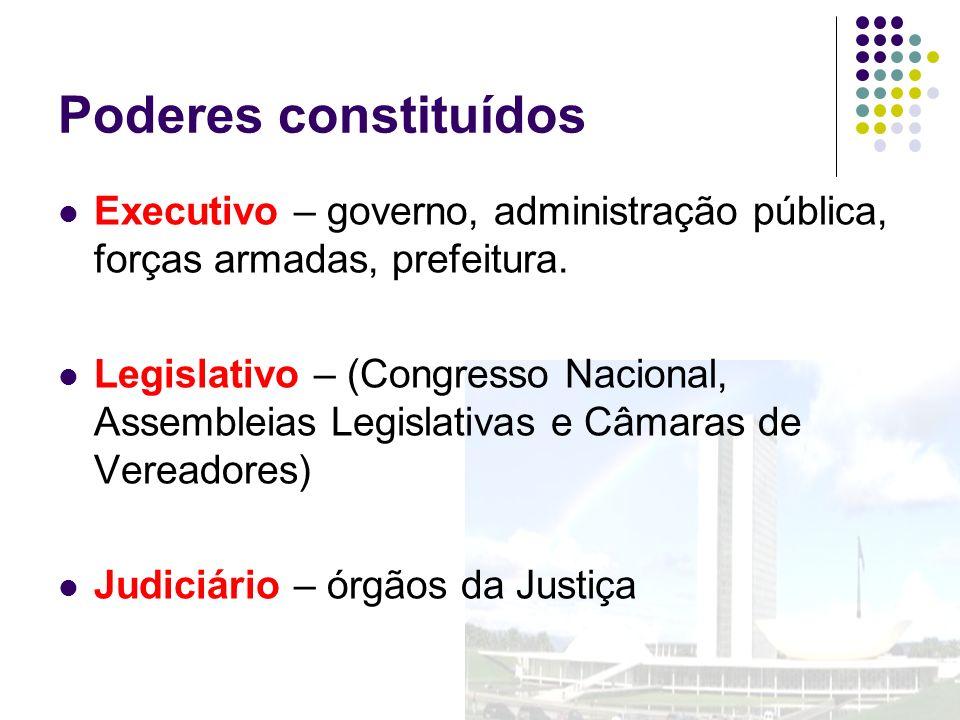 Poderes constituídos Executivo – governo, administração pública, forças armadas, prefeitura.