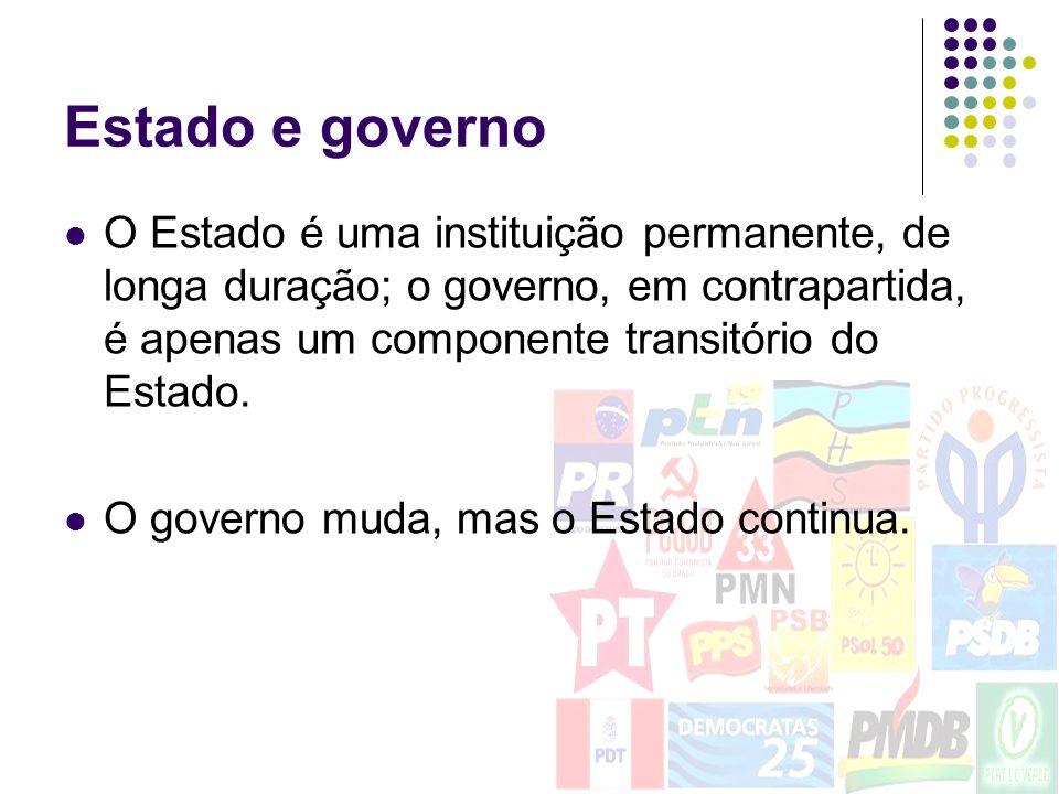 Estado e governoO Estado é uma instituição permanente, de longa duração; o governo, em contrapartida, é apenas um componente transitório do Estado.
