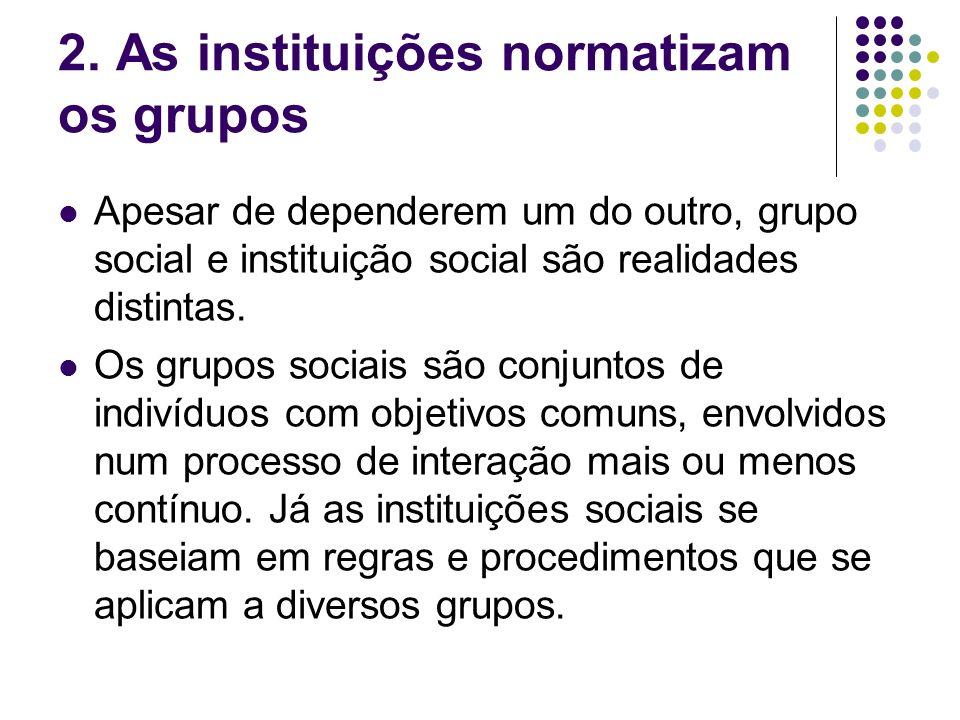2. As instituições normatizam os grupos