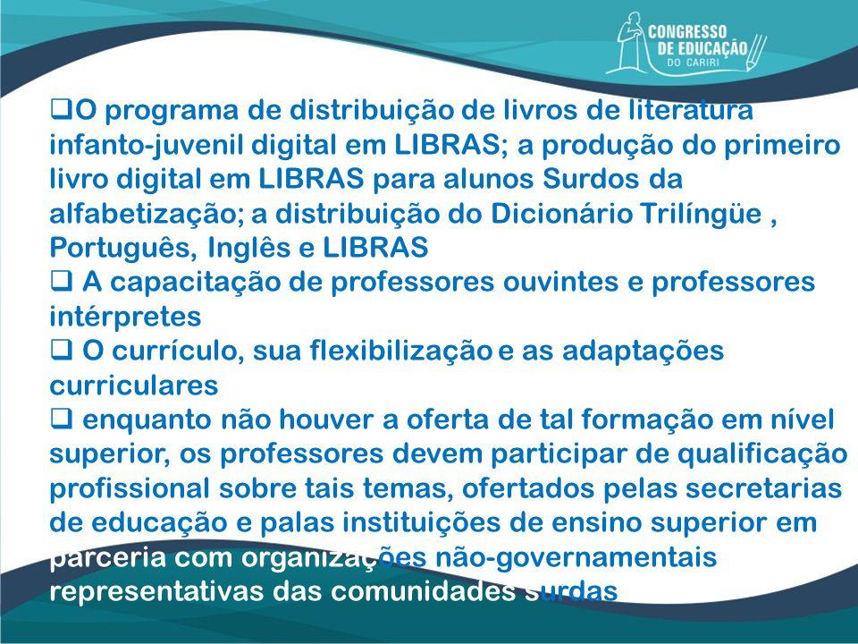 O programa de distribuição de livros de literatura infanto-juvenil digital em LIBRAS; a produção do primeiro livro digital em LIBRAS para alunos Surdos da alfabetização; a distribuição do Dicionário Trilíngüe , Português, Inglês e LIBRAS