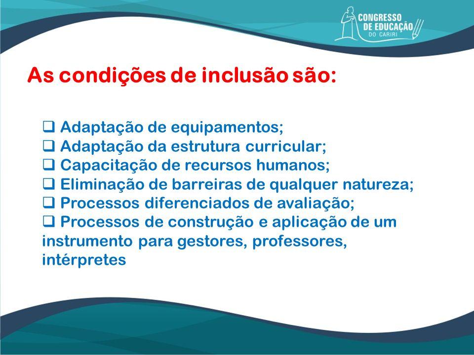 As condições de inclusão são: