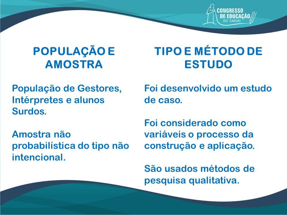 POPULAÇÃO E AMOSTRA TIPO E MÉTODO DE ESTUDO