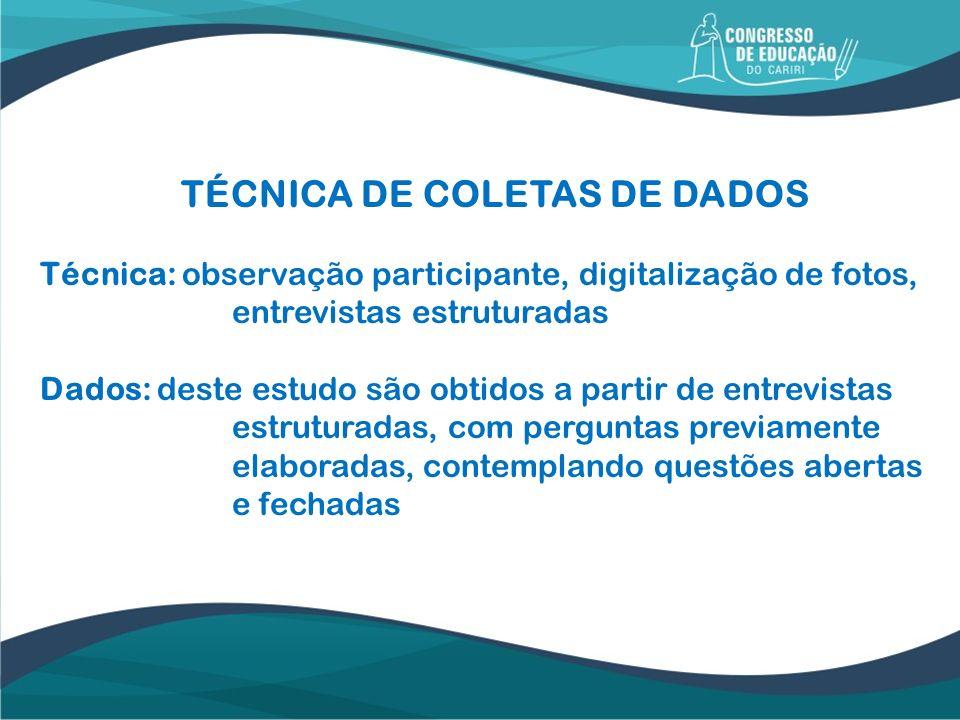 TÉCNICA DE COLETAS DE DADOS