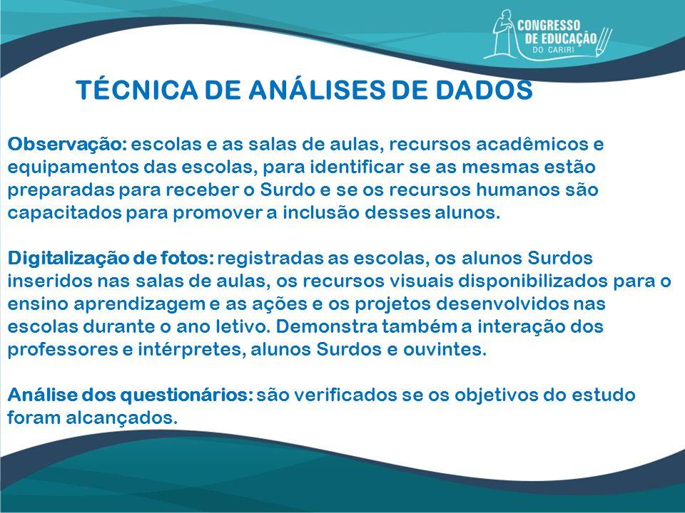 TÉCNICA DE ANÁLISES DE DADOS