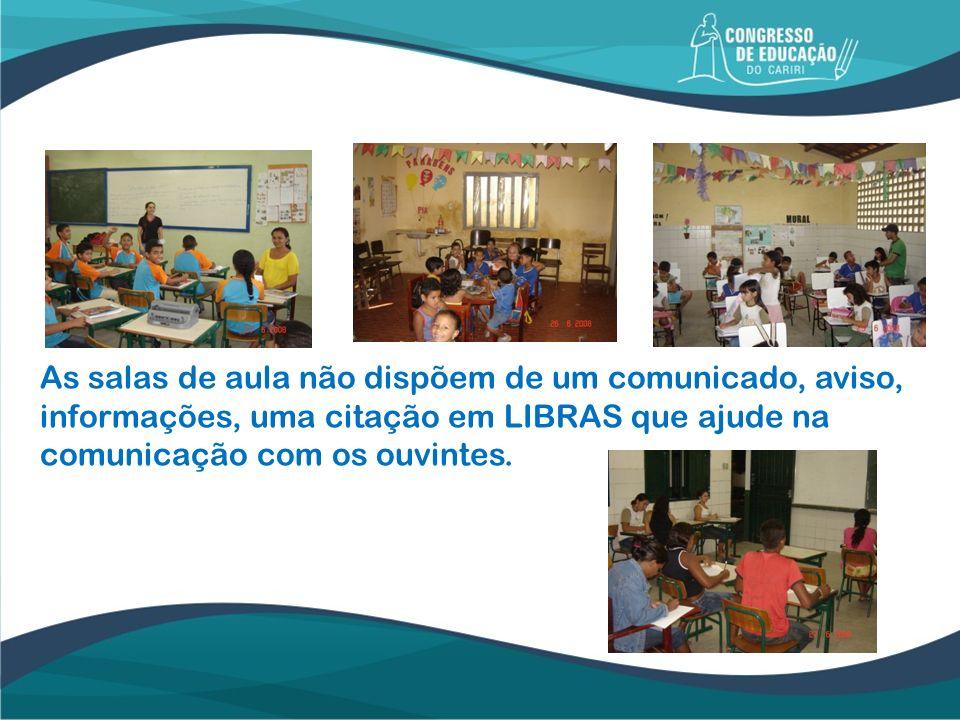 As salas de aula não dispõem de um comunicado, aviso, informações, uma citação em LIBRAS que ajude na comunicação com os ouvintes.