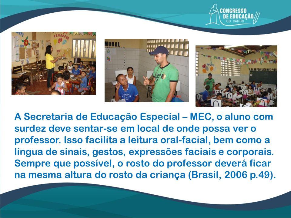 A Secretaria de Educação Especial – MEC, o aluno com surdez deve sentar-se em local de onde possa ver o professor.