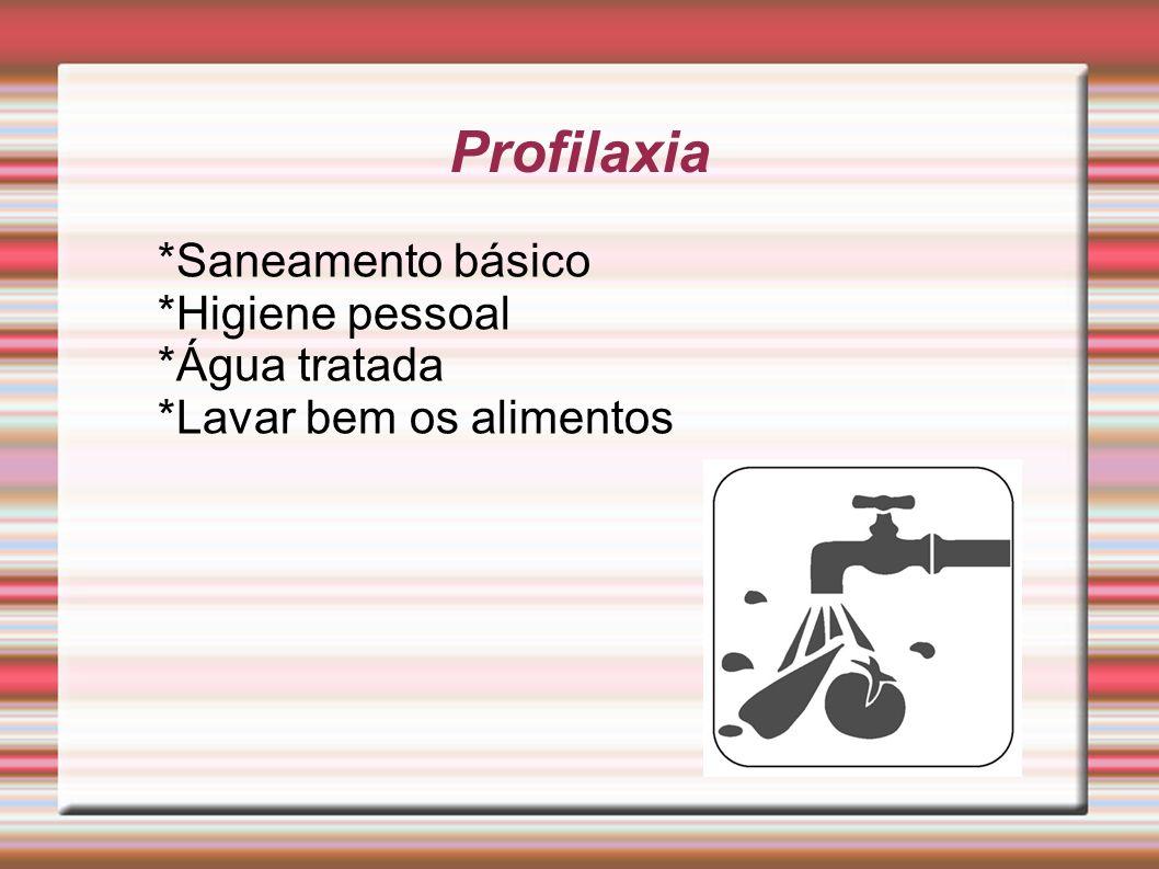 Profilaxia *Saneamento básico *Higiene pessoal *Água tratada