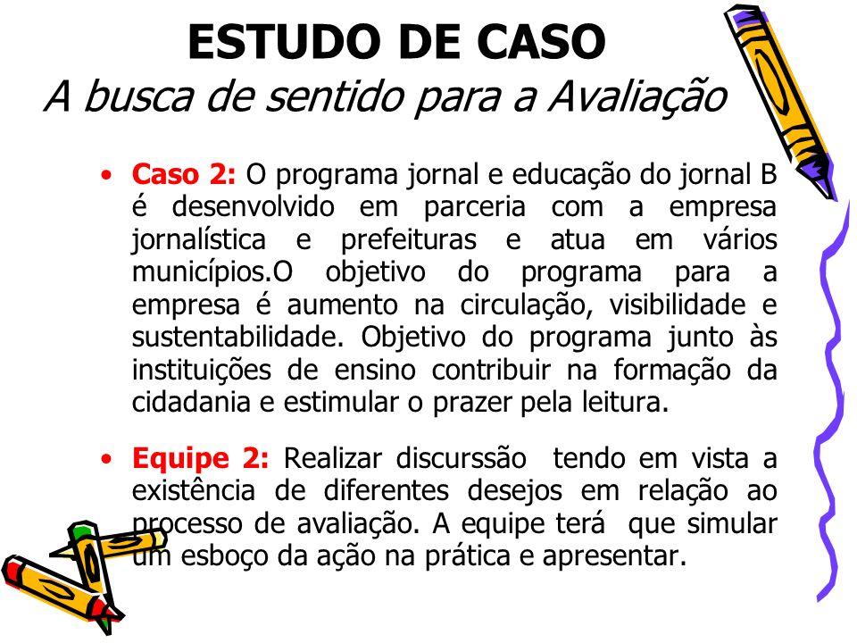 ESTUDO DE CASO A busca de sentido para a Avaliação