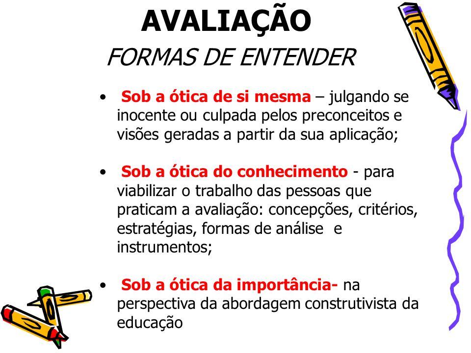 AVALIAÇÃO FORMAS DE ENTENDER