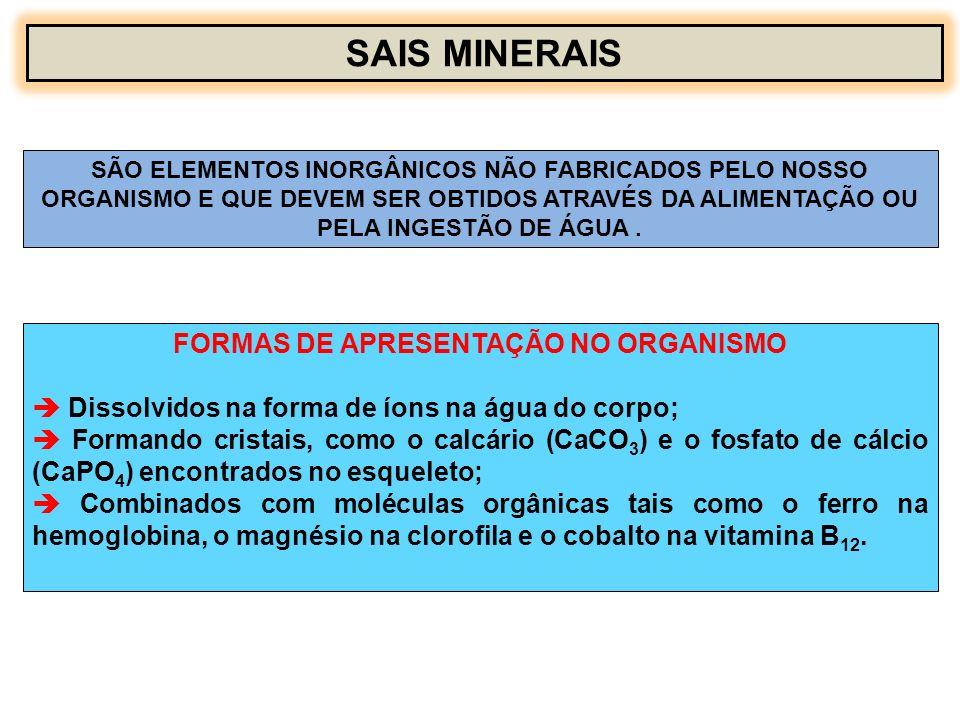 FORMAS DE APRESENTAÇÃO NO ORGANISMO