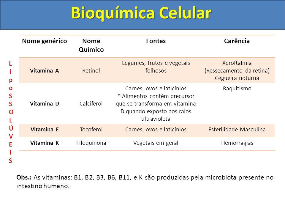 Bioquímica Celular Nome genérico Nome Químico Fontes Carência