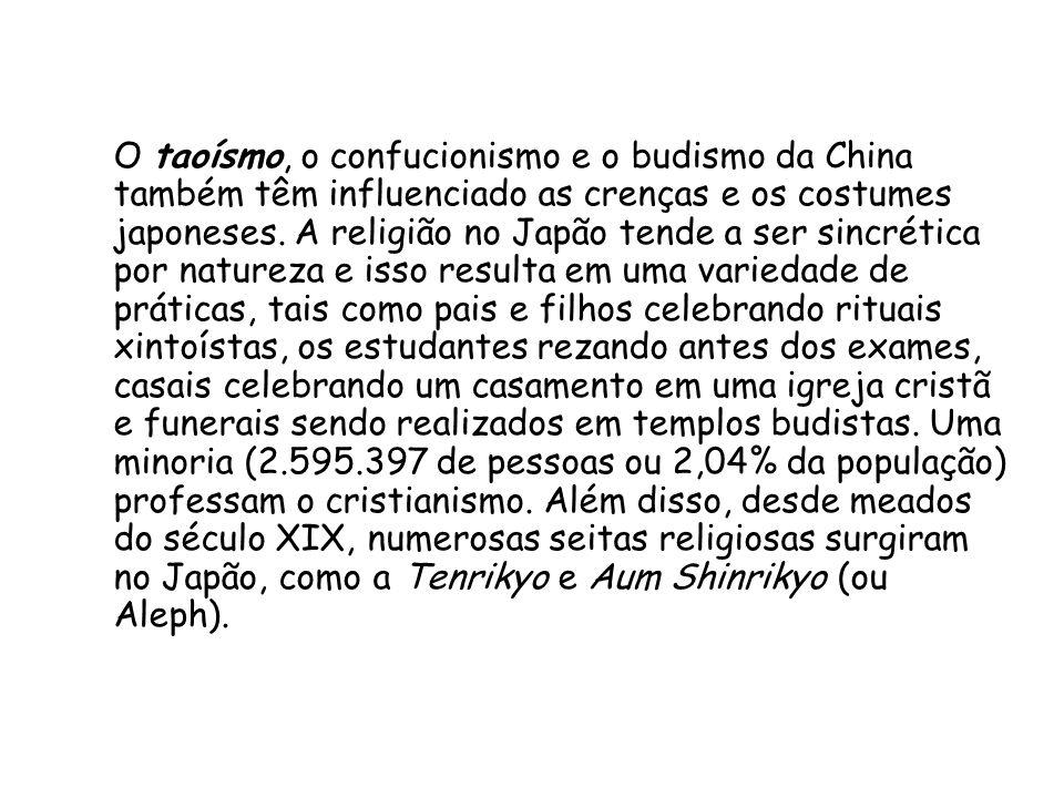 O taoísmo, o confucionismo e o budismo da China também têm influenciado as crenças e os costumes japoneses.