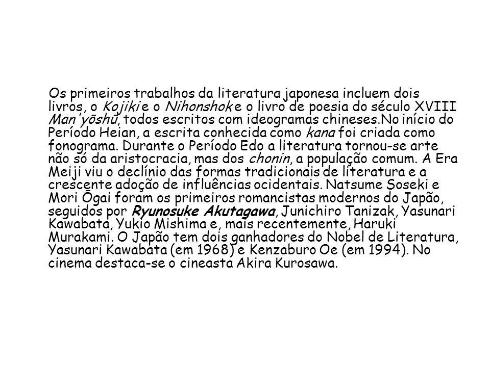Os primeiros trabalhos da literatura japonesa incluem dois livros, o Kojiki e o Nihonshok e o livro de poesia do século XVIII Man yōshū, todos escritos com ideogramas chineses.No início do Período Heian, a escrita conhecida como kana foi criada como fonograma.