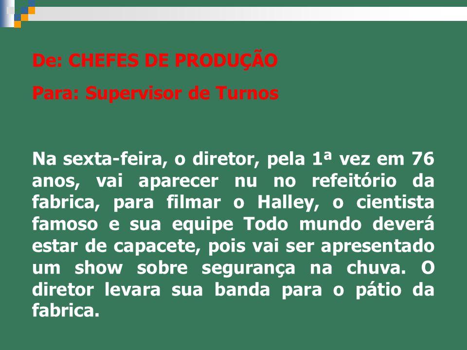 De: CHEFES DE PRODUÇÃO Para: Supervisor de Turnos.