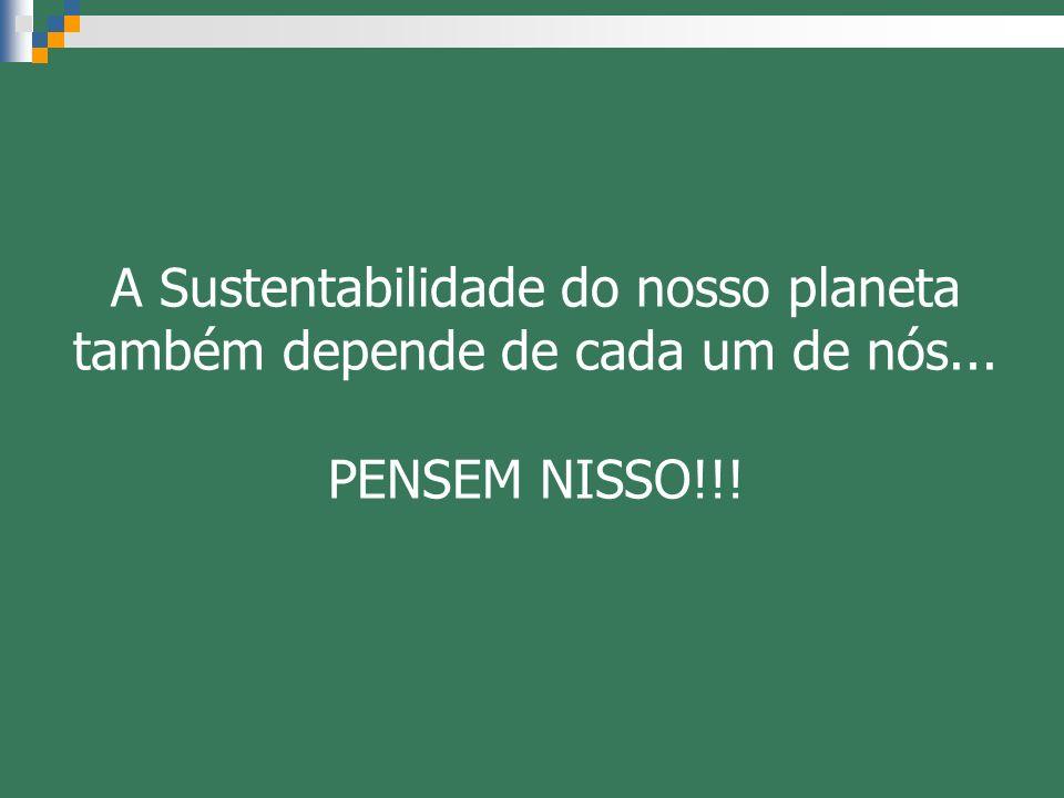 A Sustentabilidade do nosso planeta também depende de cada um de nós...