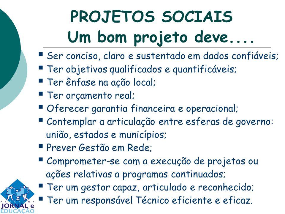 PROJETOS SOCIAIS Um bom projeto deve....