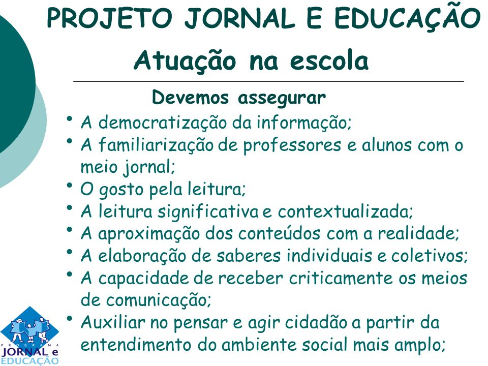 PROJETO JORNAL E EDUCAÇÃO