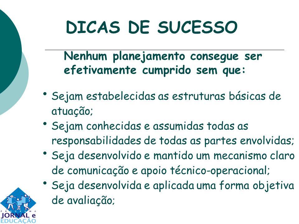 DICAS DE SUCESSO Sejam estabelecidas as estruturas básicas de atuação;