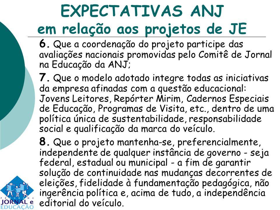 EXPECTATIVAS ANJ em relação aos projetos de JE