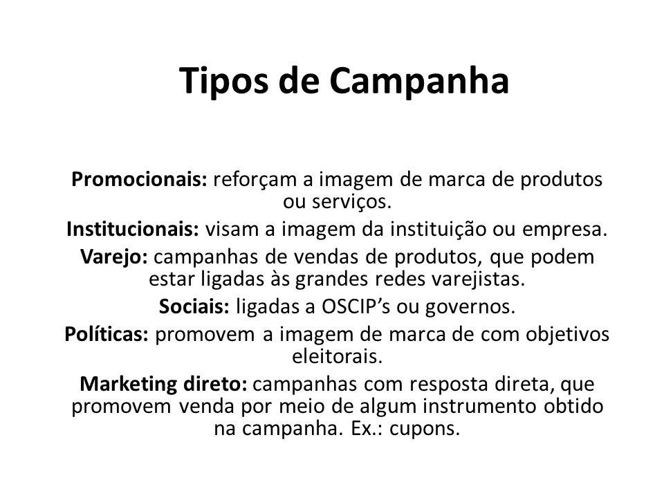 Tipos de Campanha Promocionais: reforçam a imagem de marca de produtos ou serviços. Institucionais: visam a imagem da instituição ou empresa.