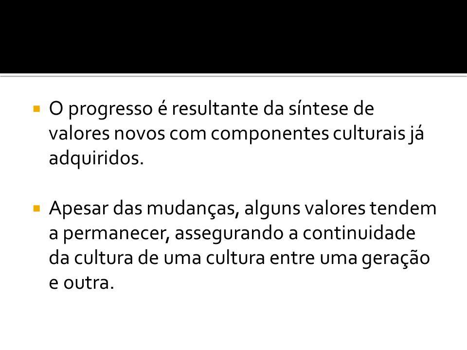 O progresso é resultante da síntese de valores novos com componentes culturais já adquiridos.