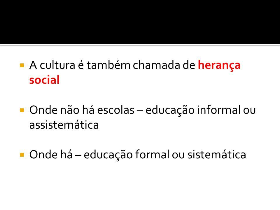 A cultura é também chamada de herança social