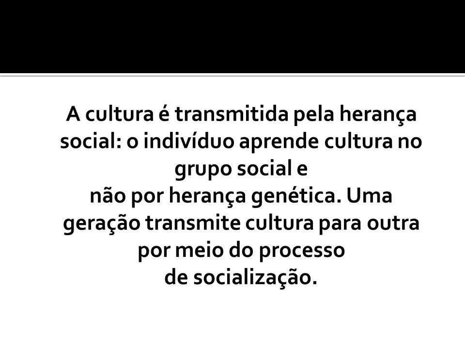 A cultura é transmitida pela herança social: o indivíduo aprende cultura no grupo social e não por herança genética.