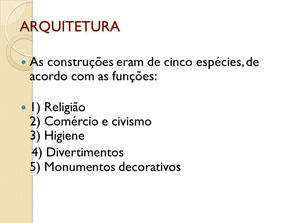 ARQUITETURAAs construções eram de cinco espécies, de acordo com as funções: 1) Religião 2) Comércio e civismo 3) Higiene.