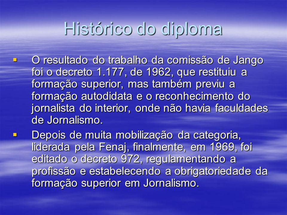 Histórico do diploma