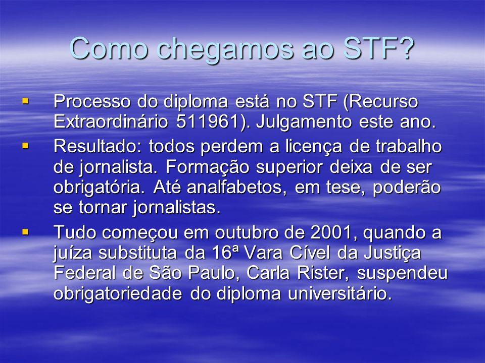 Como chegamos ao STF Processo do diploma está no STF (Recurso Extraordinário 511961). Julgamento este ano.